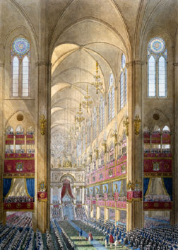 """Central Nave of Notre-Dame Cathedral"" from the ""Book of the Coronation"""