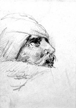 Preparatory study for a head of a wounded soldier