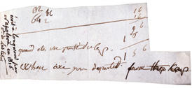 A handwritten fragment of Napoléon's English lessons