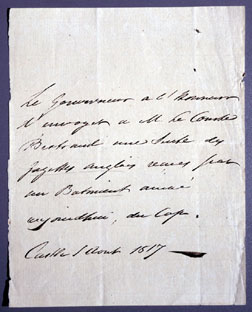 Letter from Sir Hudson Lowe to Grand Marshal Bertrand