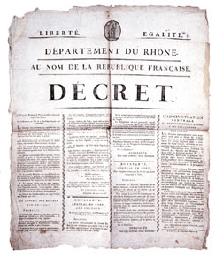 Printed decree of the French Republic announcing the �Coup d�Etat of the 18th Brumaire�