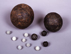 Cannonballs and grapeshot from the battlefield at Waterloo