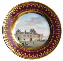 Plate with view of the Hôtel de Ville (City Hall of Paris)